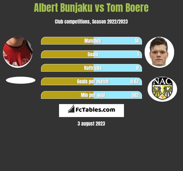 Albert Bunjaku vs Tom Boere h2h player stats