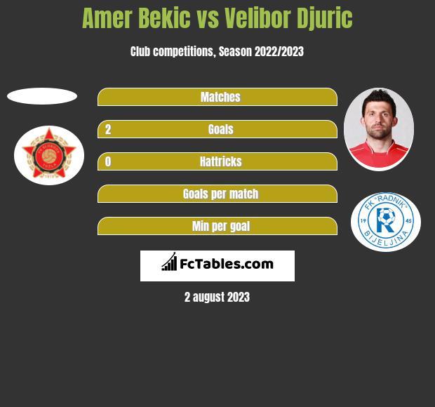 Amer Bekic vs Velibor Djuric h2h player stats