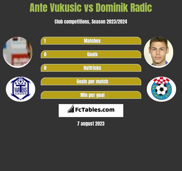 Ante Vukusic vs Dominik Radic h2h player stats