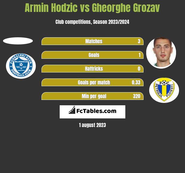 Armin Hodzic vs Gheorghe Grozav h2h player stats
