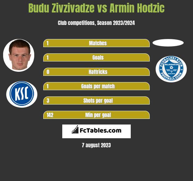 Budu Zivzivadze vs Armin Hodzic h2h player stats