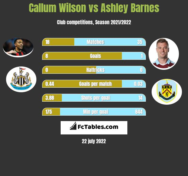 Callum Wilson vs Ashley Barnes infographic