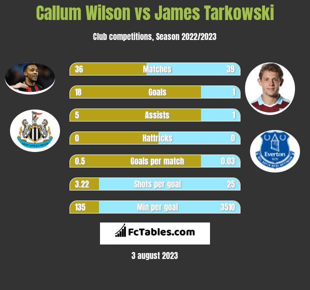 Callum Wilson vs James Tarkowski infographic
