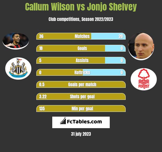 Callum Wilson vs Jonjo Shelvey h2h player stats