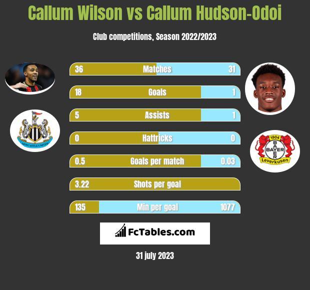 Callum Wilson vs Callum Hudson-Odoi infographic