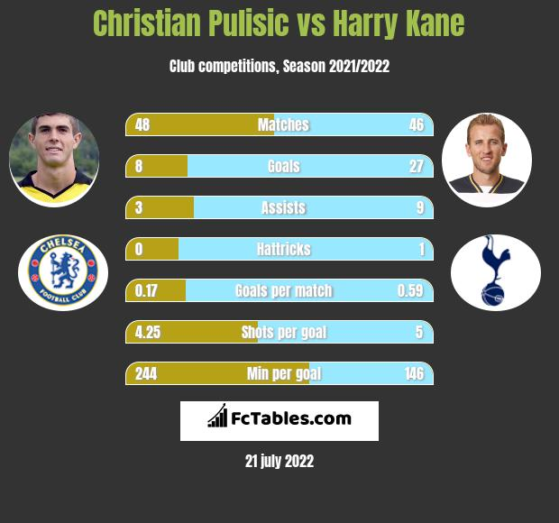 Christian Pulisic vs Harry Kane infographic
