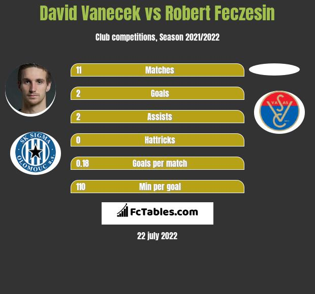 David Vanecek vs Robert Feczesin h2h player stats