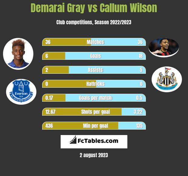 Demarai Gray vs Callum Wilson infographic