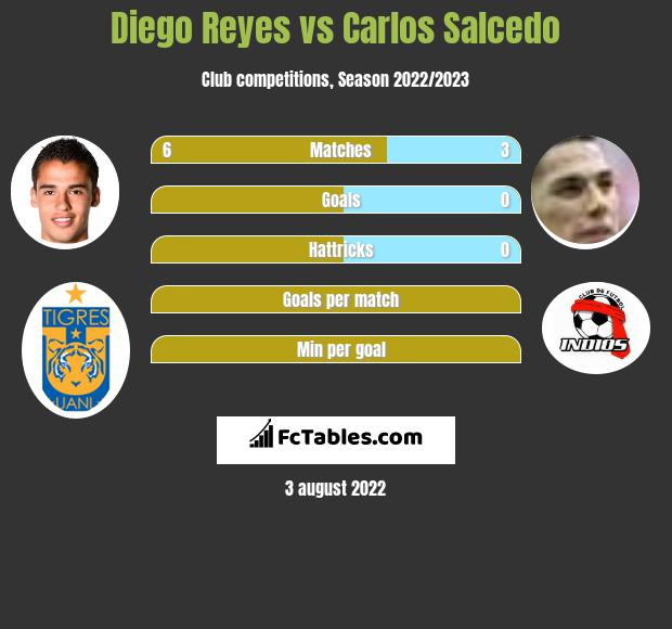 Diego Reyes infographic statistics for Tigres