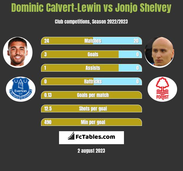 Dominic Calvert-Lewin vs Jonjo Shelvey h2h player stats