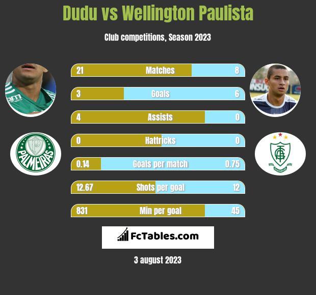 Dudu vs Wellington Paulista infographic