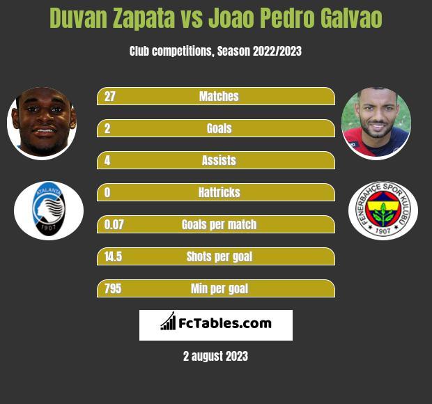 Duvan Zapata vs Joao Pedro Galvao infographic