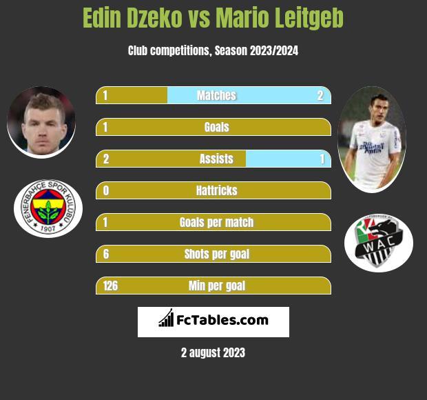 Edin Dzeko vs Mario Leitgeb h2h player stats