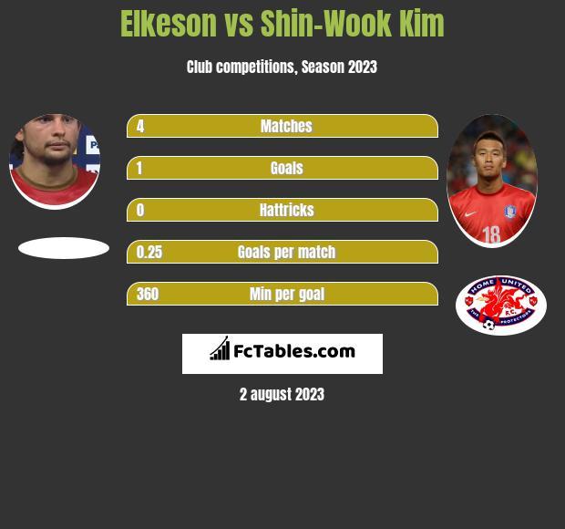 Elkeson vs Shin-Wook Kim infographic
