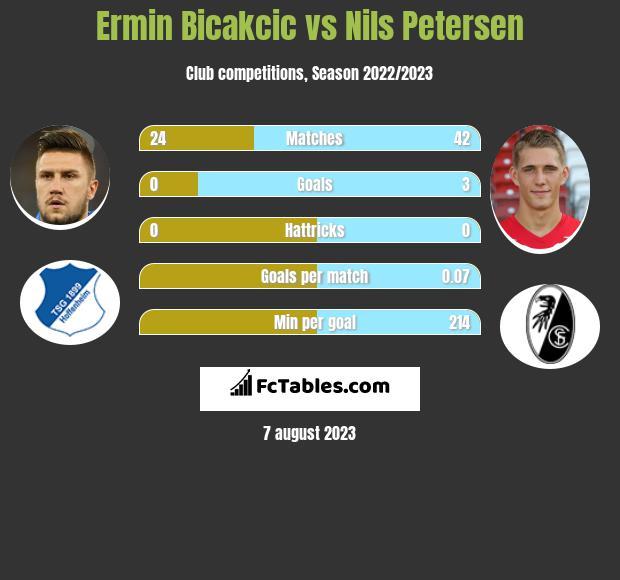 Ermin Bicakcic vs Nils Petersen infographic