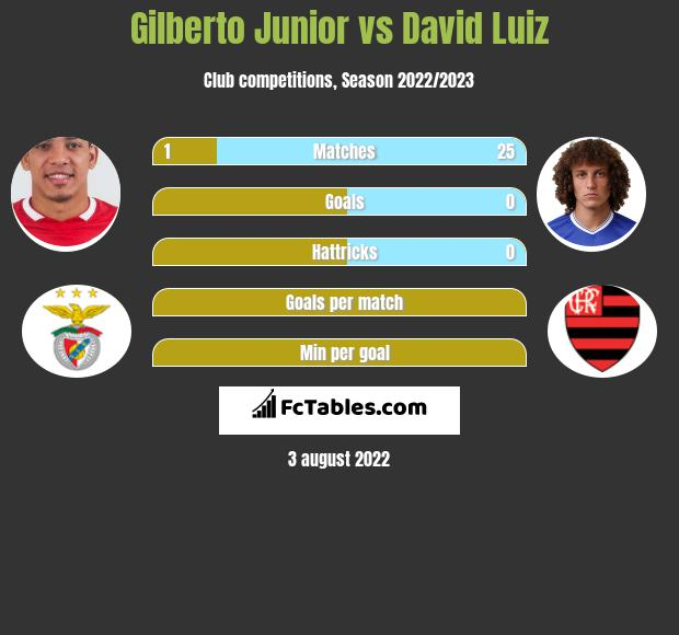 Gilberto Junior vs David Luiz infographic