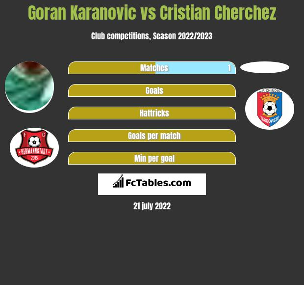 Goran Karanovic vs Cristian Cherchez h2h player stats