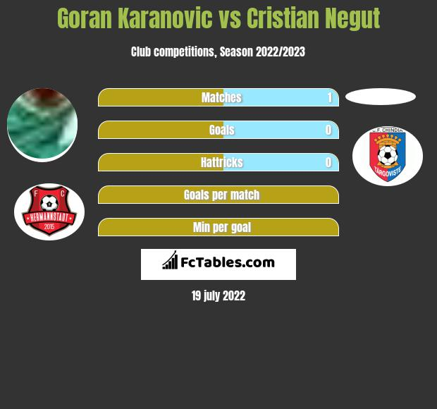 Goran Karanovic vs Cristian Negut infographic