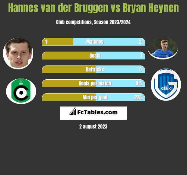 Hannes van der Bruggen vs Bryan Heynen infographic