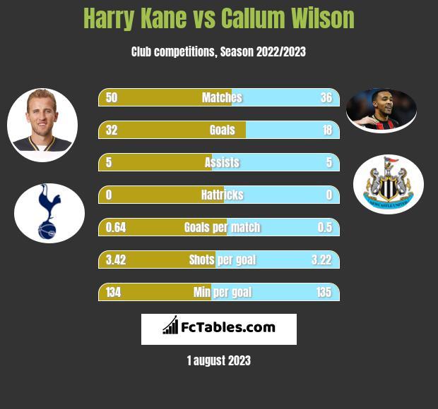 Harry Kane vs Callum Wilson infographic