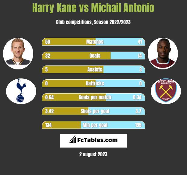 Harry Kane vs Michail Antonio infographic