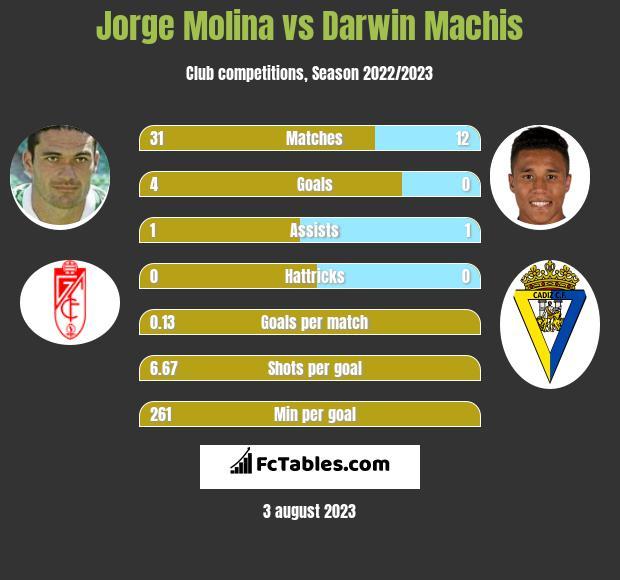 Jorge Molina vs Darwin Machis infographic
