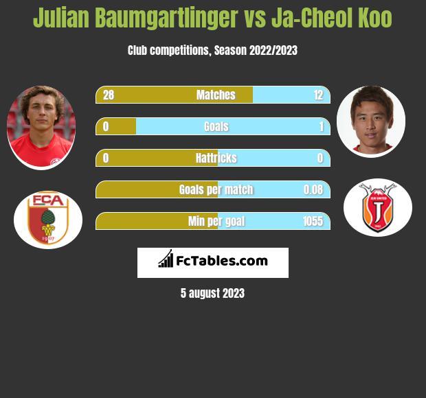 Julian Baumgartlinger vs Ja-Cheol Koo infographic