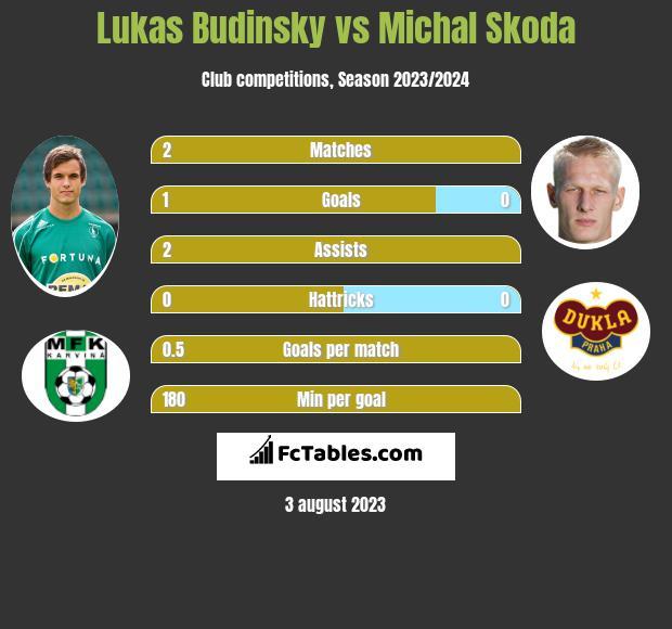 Lukas Budinsky vs Michal Skoda infographic