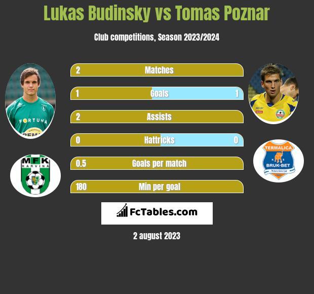 Lukas Budinsky vs Tomas Poznar infographic