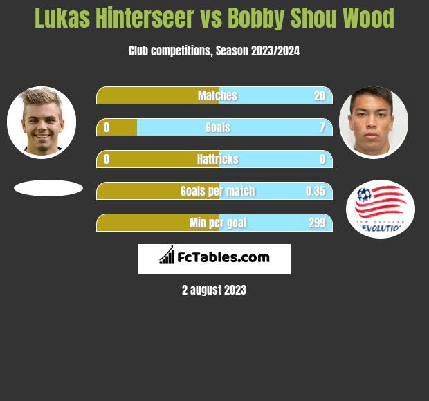 Lukas Hinterseer vs Bobby Shou Wood infographic