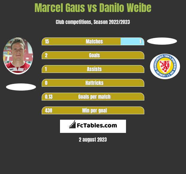 Marcel Gaus vs Danilo Weibe infographic