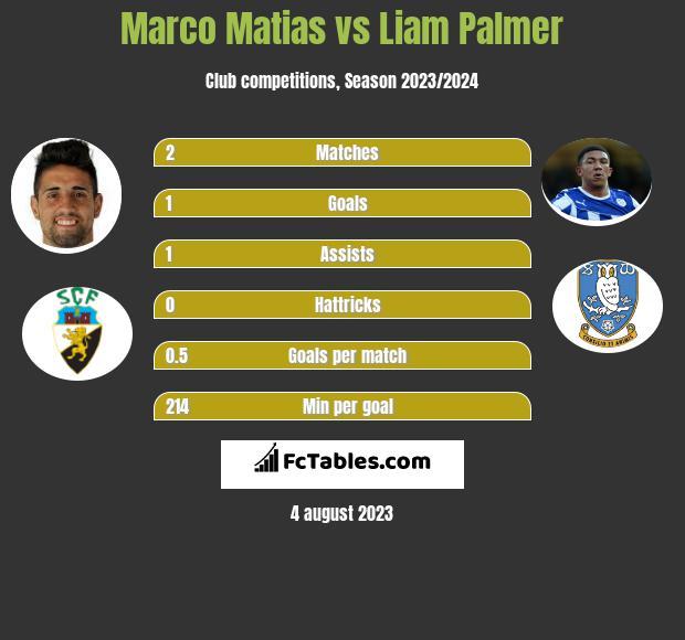 Marco Matias vs Liam Palmer infographic
