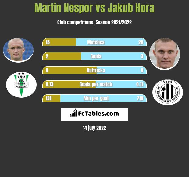 Martin Nespor vs Jakub Hora infographic