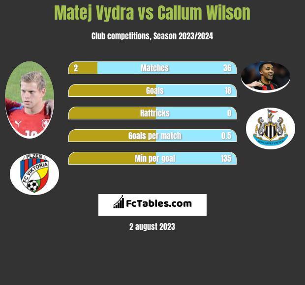 Matej Vydra vs Callum Wilson infographic