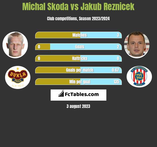 Michal Skoda vs Jakub Reznicek h2h player stats