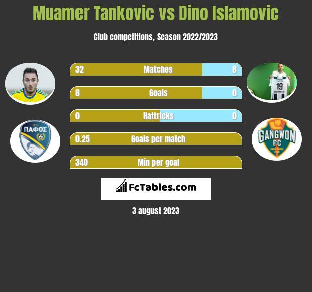 Muamer Tankovic vs Dino Islamovic h2h player stats