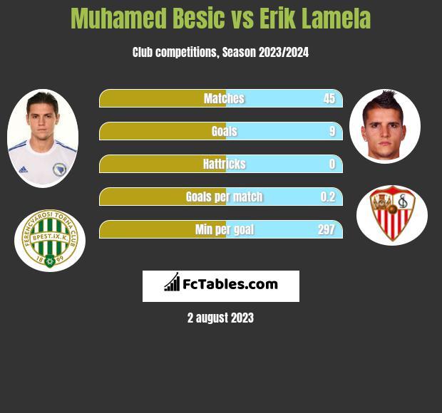 Muhamed Besic vs Erik Lamela infographic