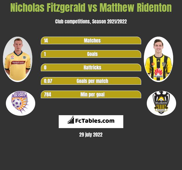 Nicholas Fitzgerald infographic statistics for Newcastle Jets