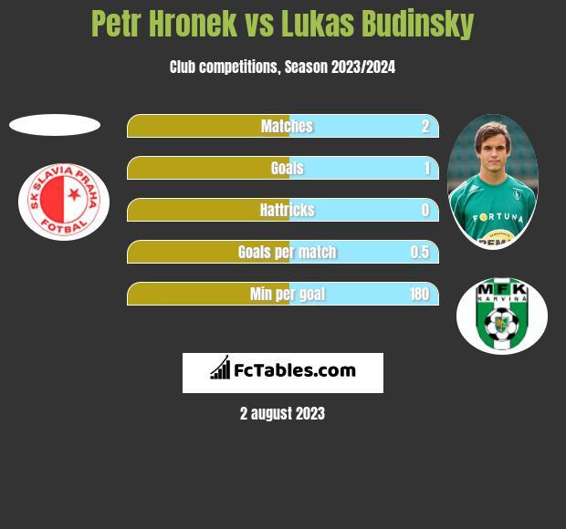 Petr Hronek vs Lukas Budinsky h2h player stats