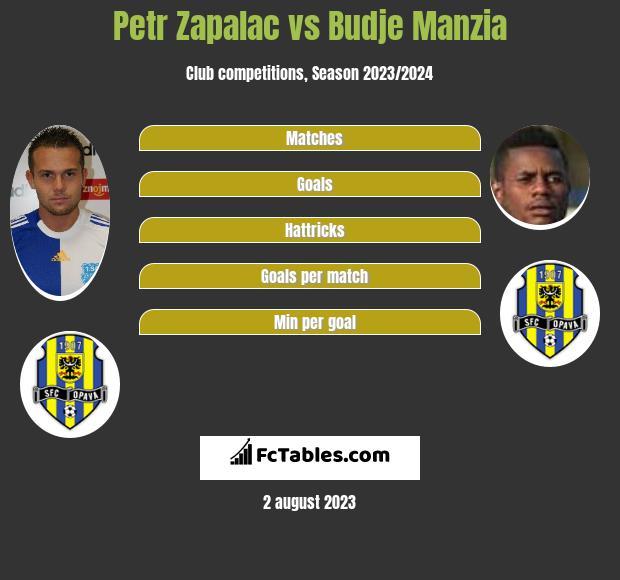 Petr Zapalac vs Budje Manzia infographic