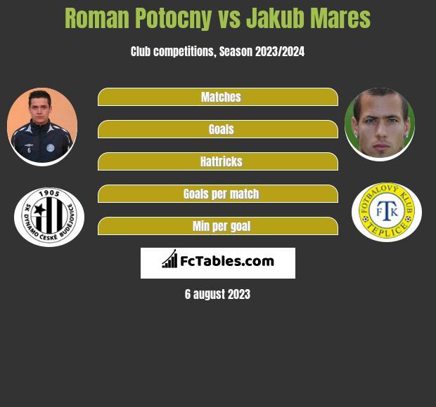 Roman Potocny vs Jakub Mares infographic