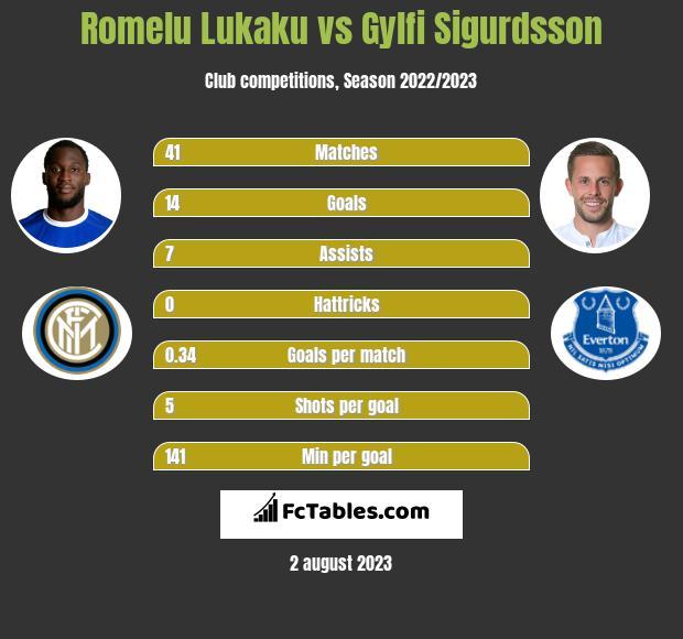 Romelu Lukaku vs Gylfi Sigurdsson infographic
