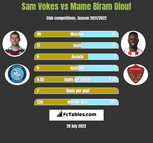 Sam Vokes infographic statistics for Stoke