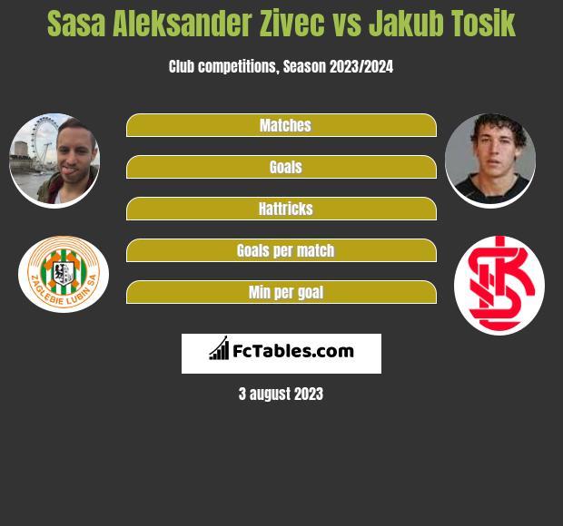 Sasa Zivec vs Jakub Tosik infographic
