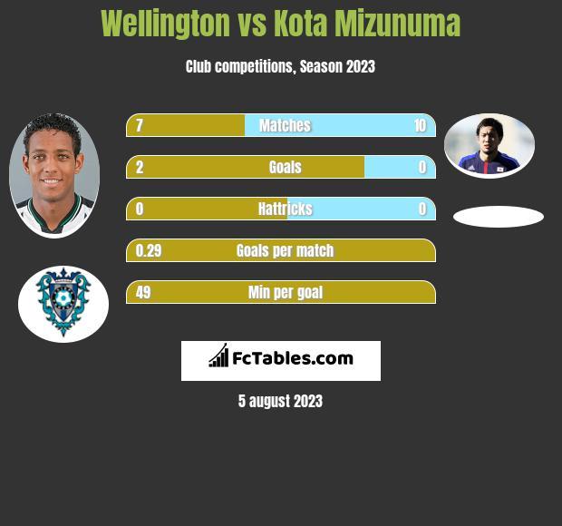 Wellington vs Kota Mizunuma h2h player stats