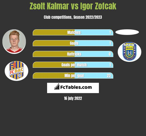 Zsolt Kalmar vs Igor Zofcak infographic