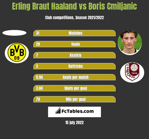 Erling Braut Haaland vs Boris Cmiljanic h2h player stats