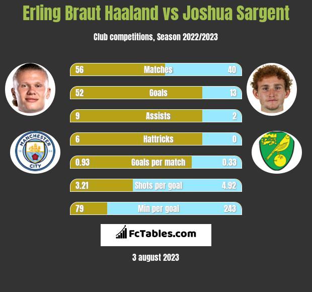 Erling Braut Haaland vs Joshua Sargent h2h player stats
