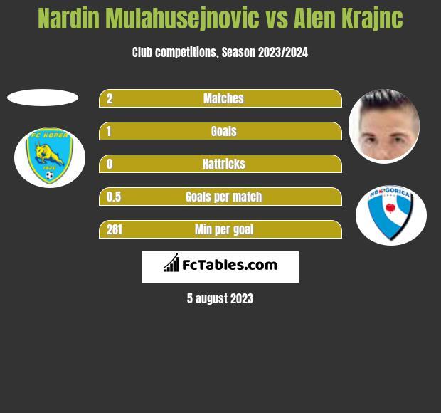 Nardin Mulahusejnovic vs Alen Krajnc h2h player stats