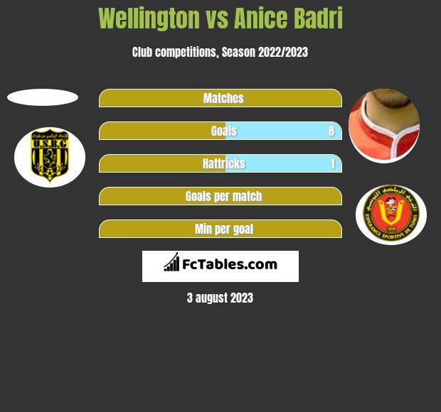 Wellington vs Anice Badri h2h player stats